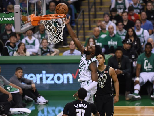 89a455b0c NBA  Playoffs-Milwaukee Bucks at Boston Celtics. Boston Celtics guard Jaylen  Brown (7) ...