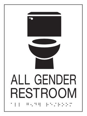 One of the all-gender restroom signs that will be at Indiana University-Purdue University Indianapolis.
