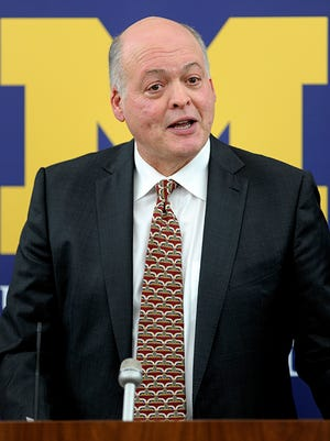 Jim Hackett is introduced as Michigan AD on Oct. 31.