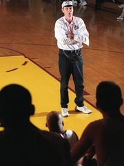 Rick Barry speaks at a clinic at St. Rose High School