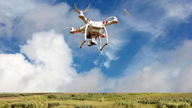 A rotary wing drone captures images over a weed research plot at Texas A&M University, College Station.