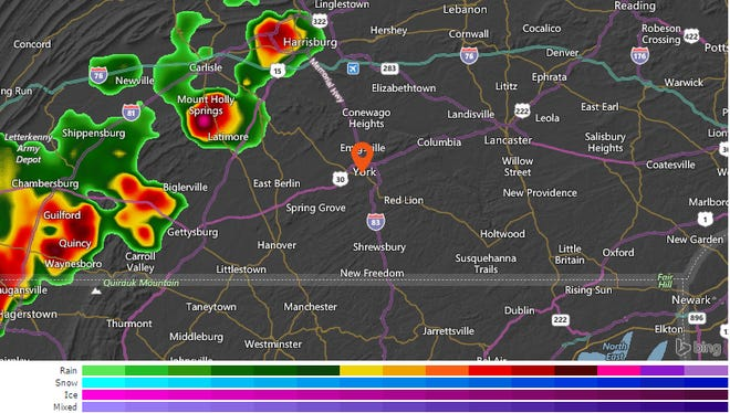 Thunderstorms are moving eastward in Pennsylvania just before 7 p.m. Friday night.