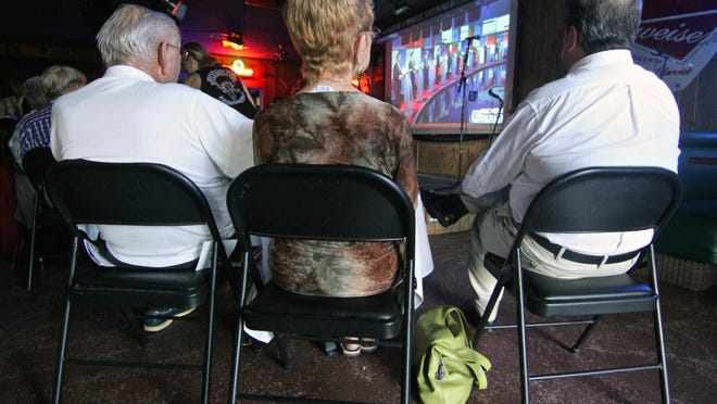 People gathered at the Roadhouse bar in Palm Springs for a viewing party of the 10-man GOP debate in Cleveland on Thursday.