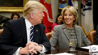 President Trump and Education Secretary Betsy DeVos on Feb. 14, 2017.