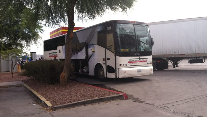 A bus traveling to Los Angeles from Texas broke down in Phoenix on July 22, 2014.