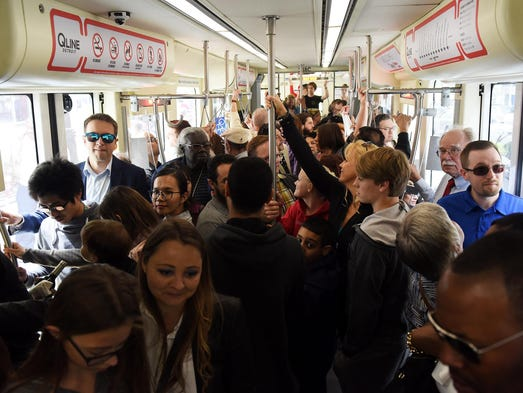 Many people waited over 30 minutes to ride Detroit's new transit system. M1…