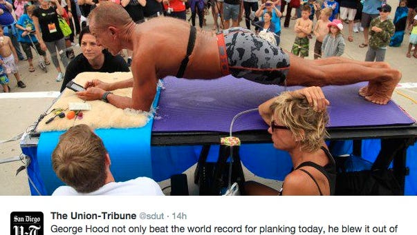 George Hood, 57, held a plank for 5 hours.