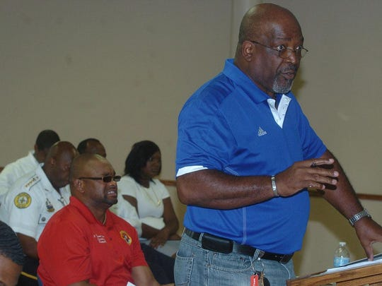 Opelousas parks and recreation director Clarence Watson addresses Tuesday's city council meeting.