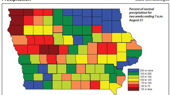 Precipitation levels in Iowa