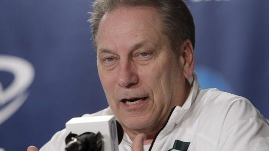 Michigan State basketball coach Tom Izzo responds to questions during a news conference March 29, 2014, in New York.