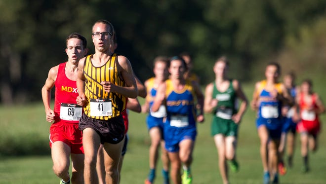 Central's Evan Sorensen (41) placed second with a time of 16:07 during the SIAC cross country meet at Angel Mounds in Evansville, Ind., on Sept. 30, 2017.