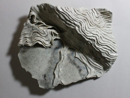 """Winter Stream,"" glazed earthenware Paperclay relief"