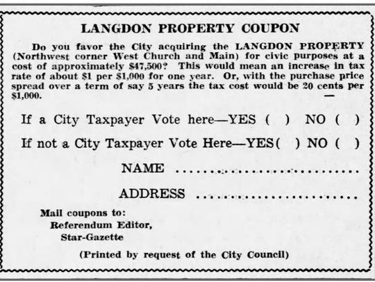 A coupon ballot for the Langdon property poll in the