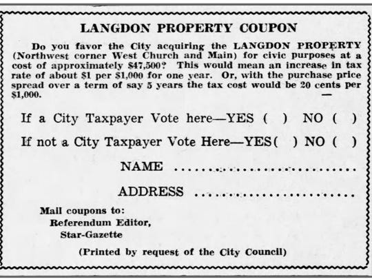 A coupon ballot for the Langdon property poll in the Star-Gazette on May 26, 1939.