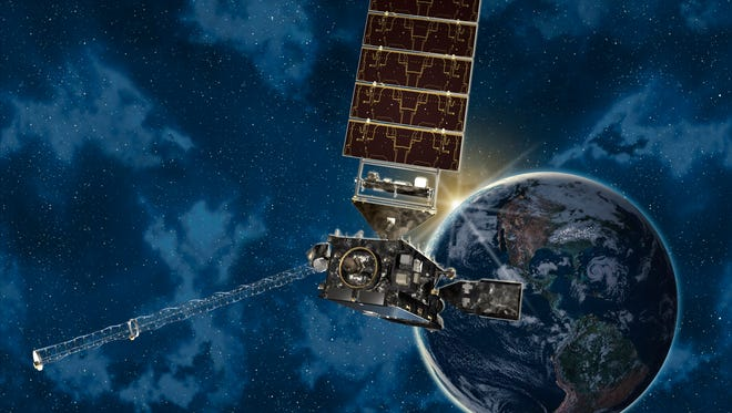 An artist's rendering of the new GOES-S satellite in orbit around the Earth. The satellite is scheduled for launch on Thursday, March 1, 2018, from Cape Canaveral Air Force Station in Florida.
