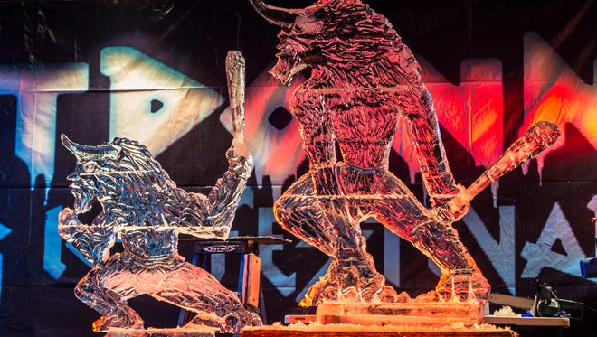 Team Fire's sculpture is seen completed at the end of the third round of the Meltdown Ice Festival's Mega Meltdown Throwdown event at Elstro Plaza on Saturday, Jan. 27, 2018.
