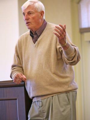 Bob Knight speaks at The Barrington of Carmel, a retirement community, May 6, 2015.