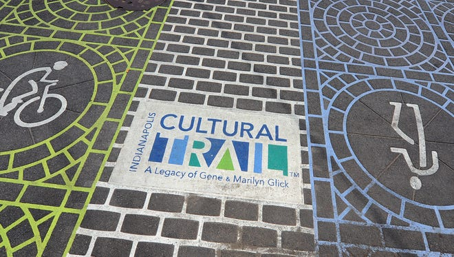 The Indianapolis Cultural Trail, this segment is along Virginia and Woodland Ave  heading southwest into Fountain Square.