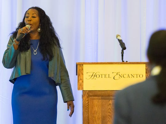 "Bobbie Green, Doña Ana County NAACP vice president, sings, ""Lift Every Voice,"" on Monday, January 16, 2017 during the annual Martin Luther King Breakfast at Hotel Encanto de Las Cruces."