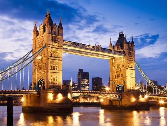 London UK Tower Bridge at River Thames Sunset Twilight Scene