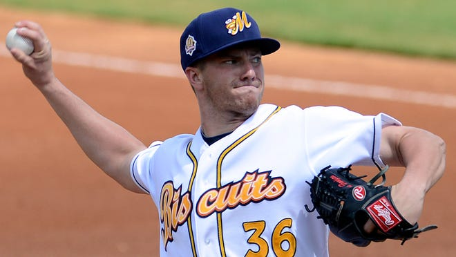 Jake Thompson, shown in a game last year, was promoted to Triple-A Durham after the Biscuits' win over Jacksonville on Monday.