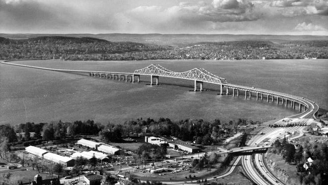 Historic photograph of the building of the Tappan Zee Bridge. The bridge transformed Rockland County from a farming community to a bustling suburb.