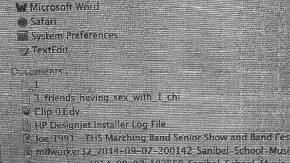 """Screen shot from Angelo's computer showing an inappropriate file called """"3 friends_havin_sex_with_1_chi"""""""