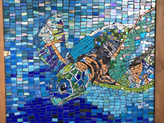 "Melissa Parker of the Parker Foundation created this ""Sea Turtle"" glass tile mosaic."