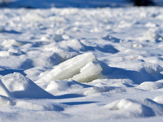Ice collects on the Missouri River upstream from Broadwater
