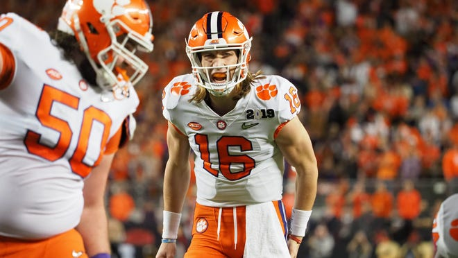 Jan 7, 2019; Santa Clara, CA, USA; Clemson Tigers quarterback Trevor Lawrence (16) reacts during the second quarter in the 2019 College Football Playoff Championship game against the Alabama Crimson Tide at Levi's Stadium. Mandatory Credit: Kelley L Cox-USA TODAY Sports ORG XMIT: USATSI-388025 ORIG FILE ID:  20190107_sal_ax5_2931.JPG