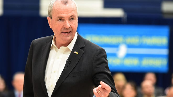 Gov. Phil Murphy holds a town hall at Paramus High School last month.