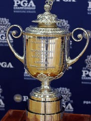 The PGA Wanamaker trophy is on display at Kohler High