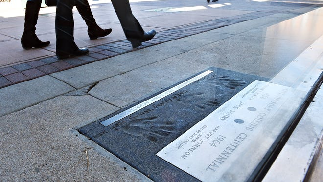 Comedian Jack Benny left his handprint in cement at the corner of Mountain and College when he came to Fort Collins to help celebrate the opening of the former Columbia Savings & Loan in 1962. He later visited in 1964 on the city's 100th birthday.   The Downtown Development Authority has restoration of the hand print on its list of priority projects for the coming years.