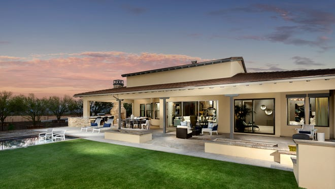 """This back yard gives a hint of some of the """"ranch hacienda"""" architecture at Trilogy at Verde River."""