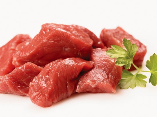 Courtesy thinkstockphotos.com   Most adult males need about 56 grams of protein per day and most adult females need about 46 grams per day. Meat is a good source of protein, but not the only source.