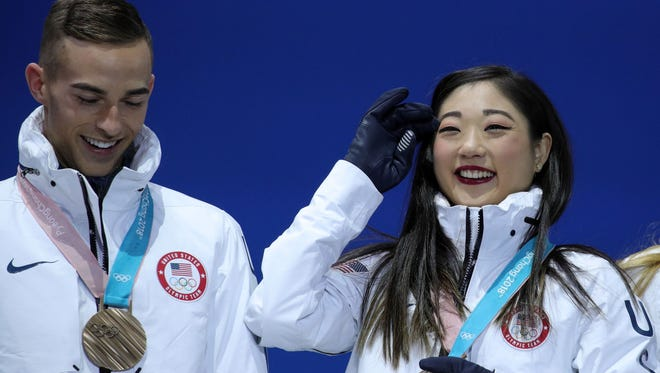 Adam Rippon and Mirai Nagasu won bronze in the figure skating team event.