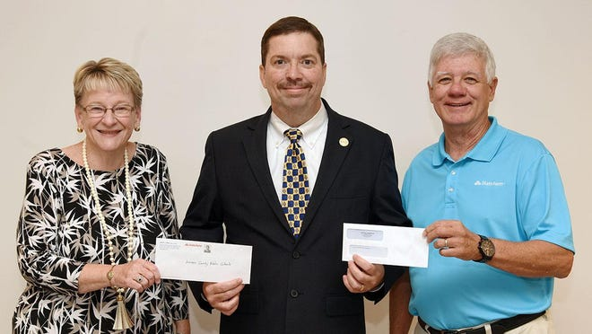 Kinston State Farm agents Judy Jones and Keith Thompson recently stepped up to provide donations totaling $1,000 through the State Farm Community Grant Fund that will increase LCPS's inventory of hotspots -- devices that can help students connect to the internet for remote learning. Superintendent Brent Williams, center, recently accepted the donations with words of thanks to these two community leaders.
