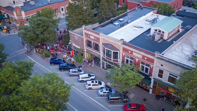 """An aerial view of downtown Holland in 2018. The city will celebrate """"Downtown Day"""" on Saturday, Sept. 26."""