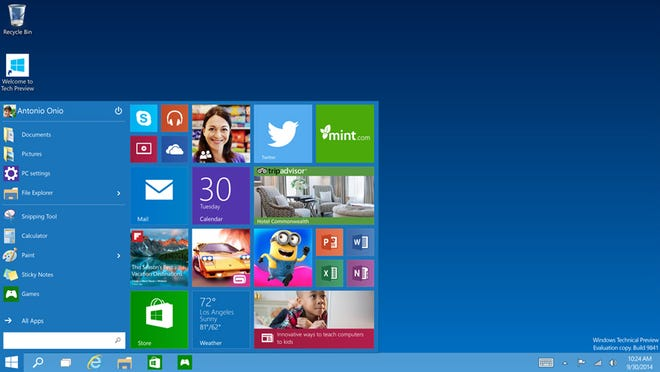 This image provided by Microsoft shows the start menu of Windows 10, the company's next version of its flagship operating system.