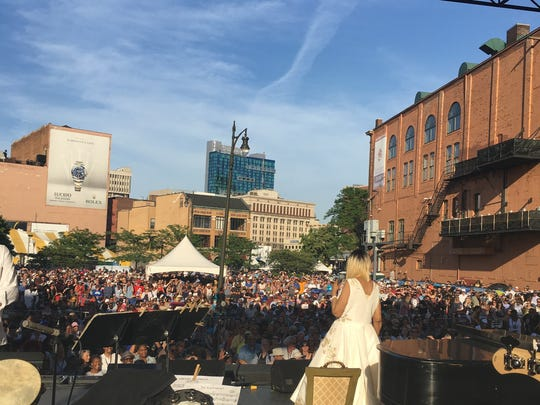 View from the stage: Saxophonist Johnny Evans' vantage point during Aretha Franklin's show in Detroit on June 10, 2017.