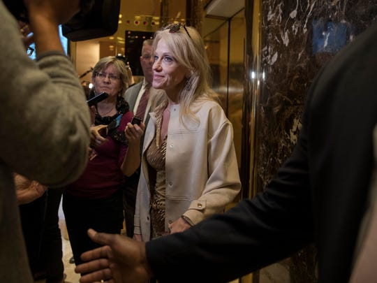 Kellyanne Conway, who managed President-elect Donald Trump's presidential campaign, talks to reporters at Trump Tower on Fifth Avenue in New York, Nov. 14, 2016. (Ruth Fremson/The New York Times)