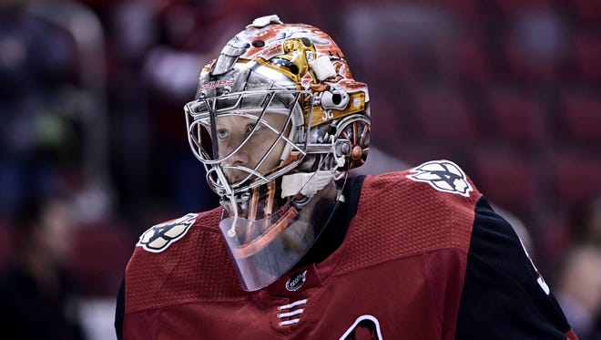 Oct 7, 2017: Arizona Coyotes goalie Antti Raanta (32) looks on prior to the game against the Vegas Golden Knights at Gila River Arena.