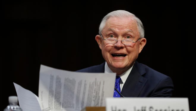 In this Oct. 18, 2017, file photo, Attorney General Jeff Sessions testifies before the Senate Judiciary Committee on Capitol Hill in Washington.