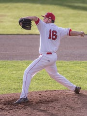 Battle Creek Bombers pitcher Alex Hermeling throws some heat in Tuesday's opener at C.O. Brown Stadium.