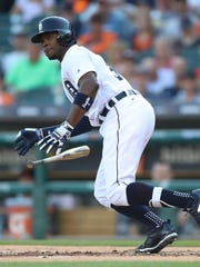 Tigers' Justin Upton bats against the Giants in the first inning Wednesday, July 5, 2017 at Comerica Park in Detroit.
