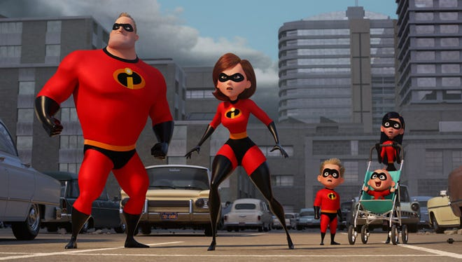 """Mom (voice of Holly Hunter) takes the lead in """"The Incredibles 2,"""" opening Friday."""