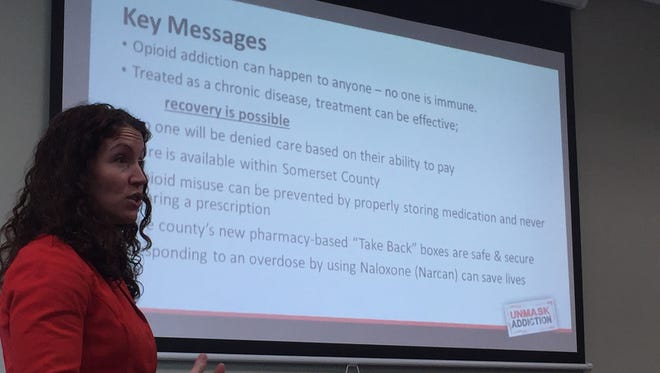 """Jenni Pastusak of a.s.a.p.r. integrated marketing presents about the newly-unveiled """"Unmask Addiction"""" campaign at a Healthy Somerset meeting on Wednesday."""