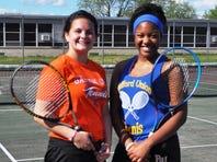 RU's Bria White (right) won a three-set match at No. 1 singles over Garden City's Haleigh Maszatics.