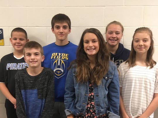 McPherson Middle School's Students of the Month for November are, front row from left, Landen Nobles, Madison Dukeshire, and Alexia Young, and back row, Jackson Rogers, Will Lozier, and Courtney Buchanan.