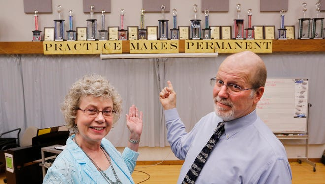 Music teachers Marcy Miller and Cecil Shoemaker Wednesday, May 3, 2017, at Tecumseh Jr. High School. Both longtime teachers are stepping down at the end of the school year. Miller has been teaching for 38 1/2 years and Shoemaker for 36 years, respectively.